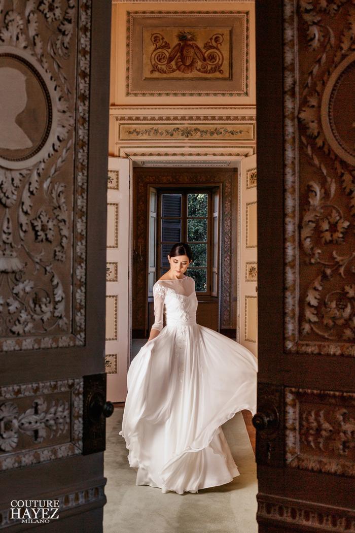 abito sposa grace kelly alta società,abiti e vestiti da sposa a milano, abito sposa in chiffon, abito da sposa con maniche