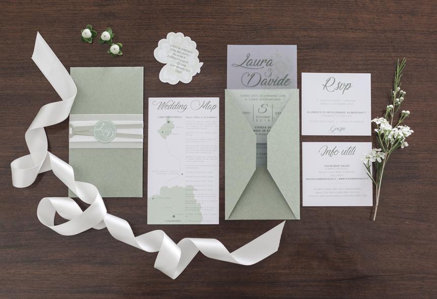 suite partecipazioni verde e bianca by Laura Lossi