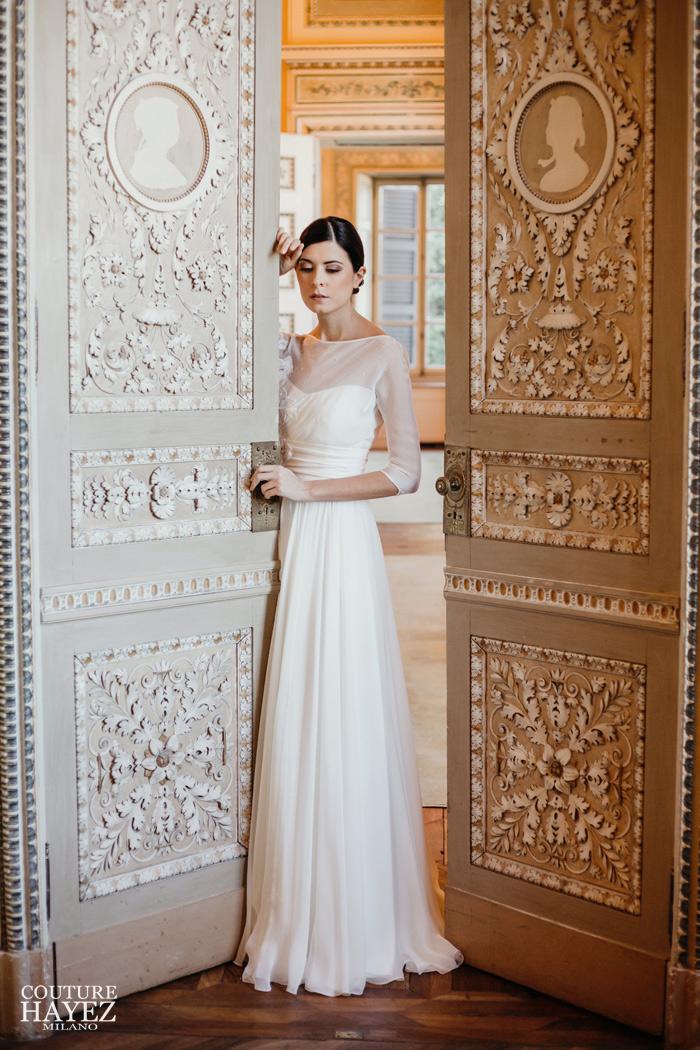 Abito Da Sposa 4 Mesi Prima.Abito Sposa In Chiffon Samantha Couture Hayez Atelier
