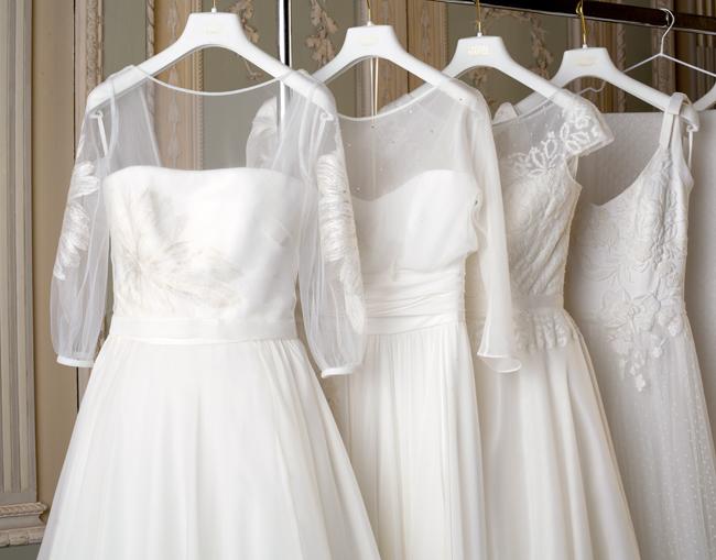 abiti sposa in seta, atelier abiti sposa su misura, vestiti da sposa con maniche, abiti sposa milano
