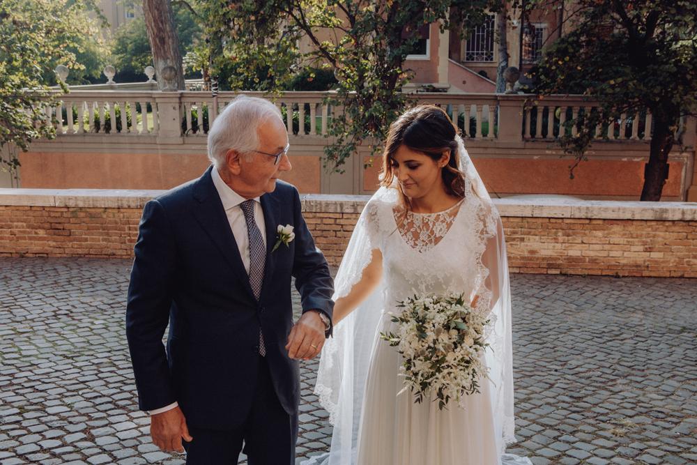 il padre della sposa si mette a destra, la sposa entra in chiesa