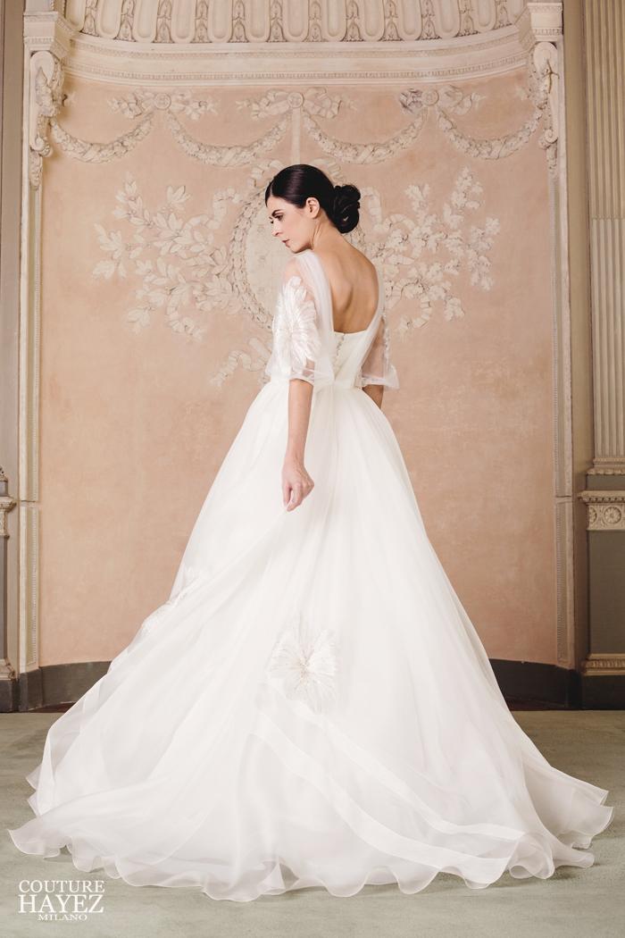 collezioni sposa 2020,abiti sposa organza di seta, abiti da sposa con maniche, couture hayez 2020