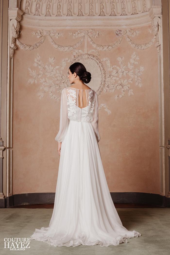 collezioni sposa 2020, abiti da sposa in chiffon di seta, abiti sposa con maniche lunghe, abiti sposa raffinati ed eleganti
