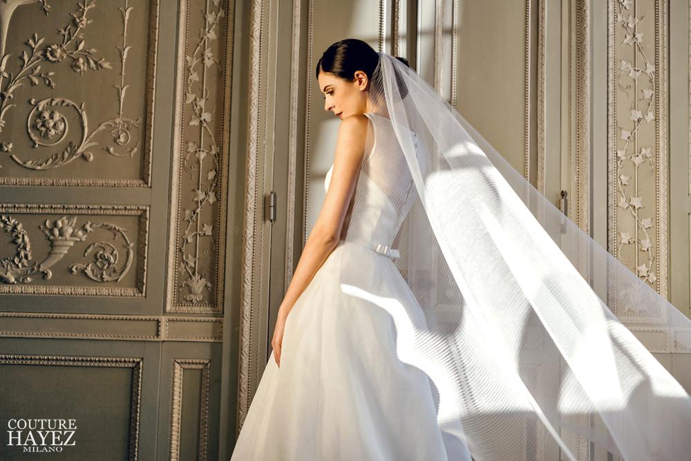 velo lungo organza, ispirazioni abiti sposa 2020, couture hayez2020, atelier sposa italiani