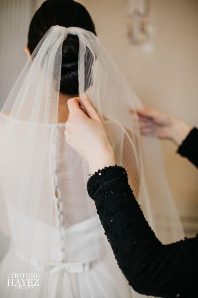 velo sposa lungo, abito sposa organza, couture hayez, milano
