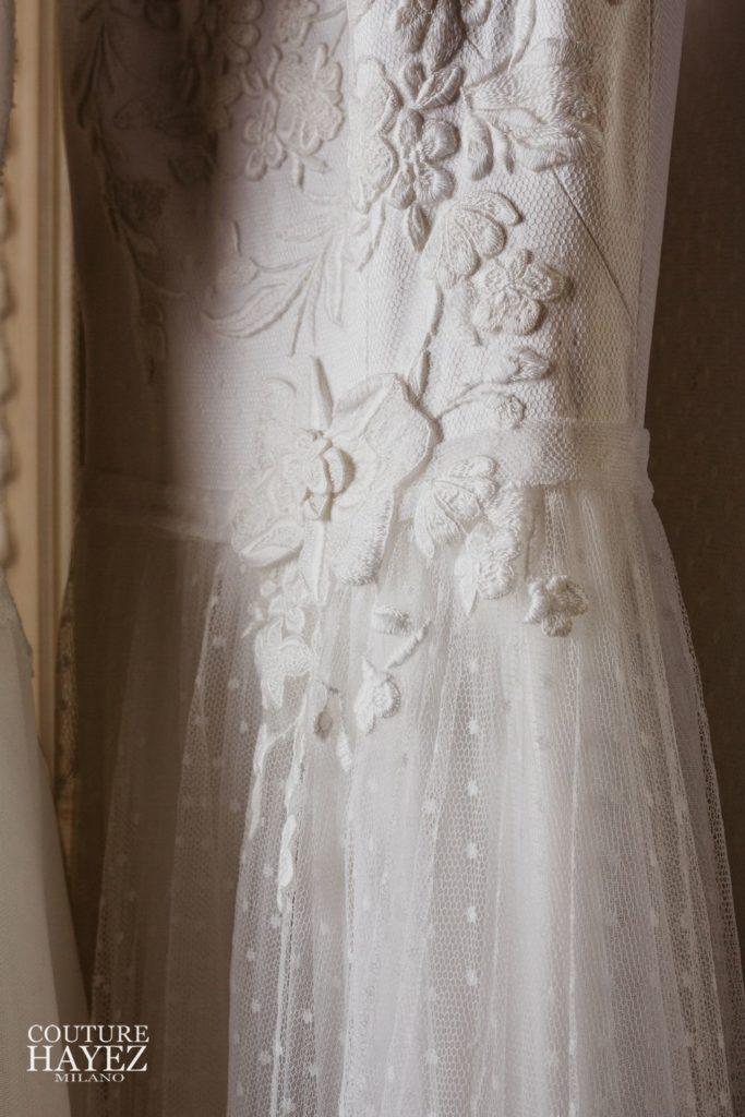 abito sposa in tulle, abito sposa in pizzo ricamato, abiti da sposa particolari