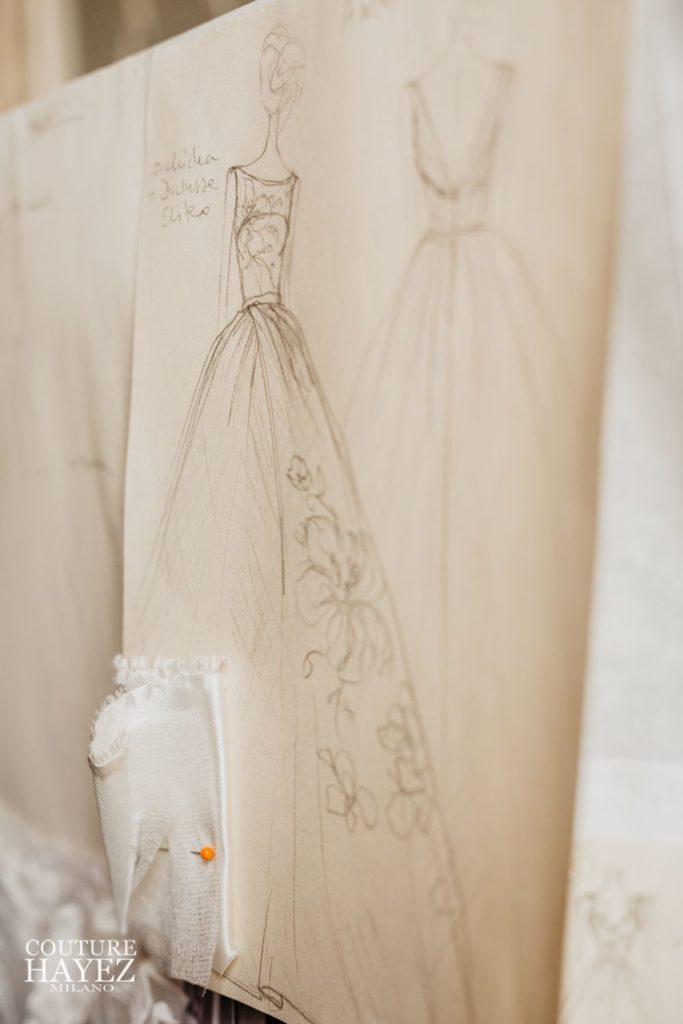 figurino sposa backastage, couture hayez, sartoria sposa milano