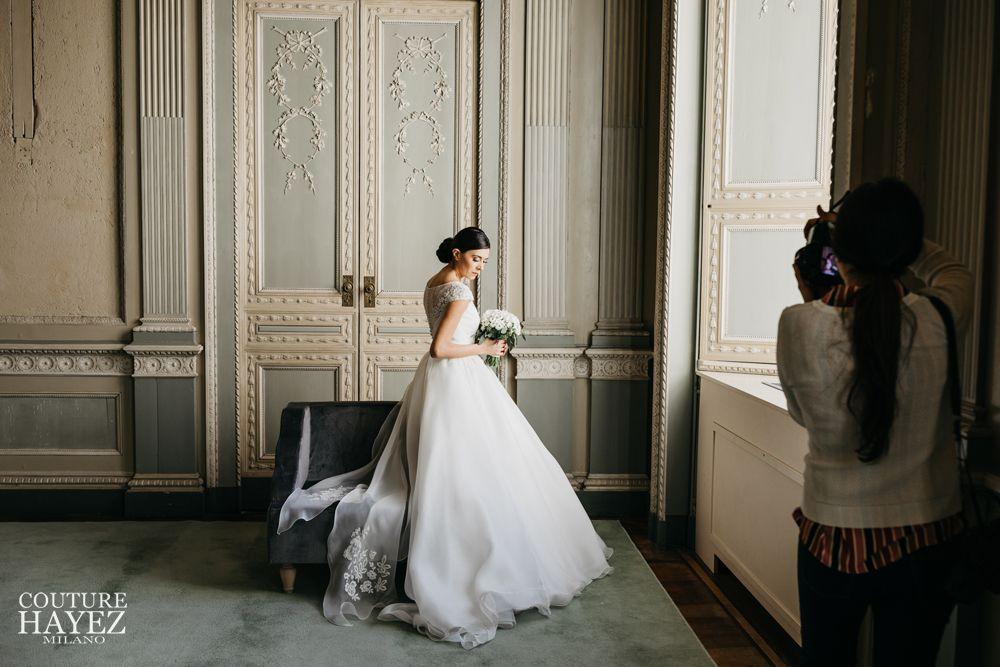 abito sposa eloise in pizzo e organza, couture hayez
