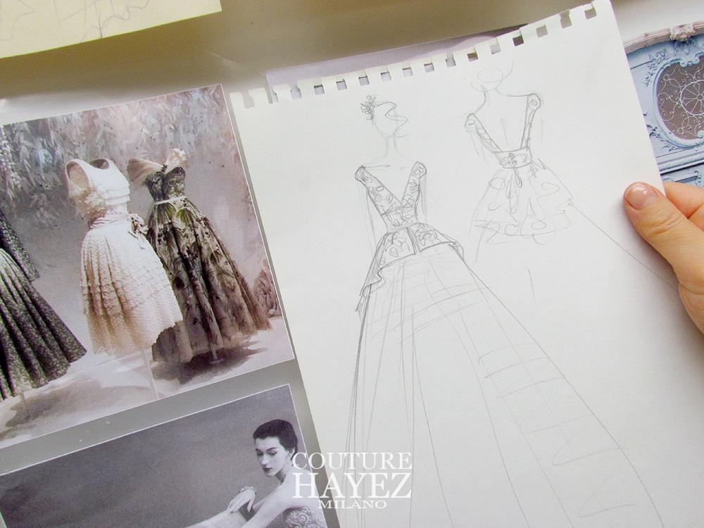 sposa, sposa 2020, schizzo abito sposa , couture, atelier sposa milano