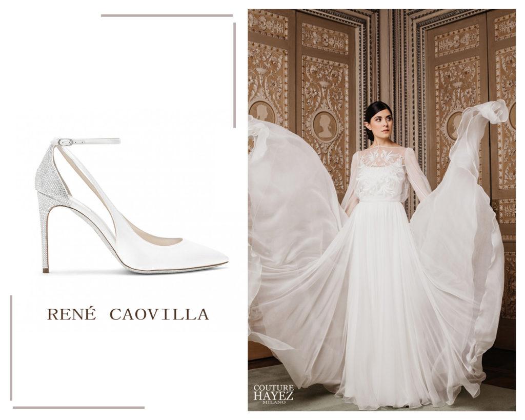 scarpe sposa rené caovilla evania, abito sposa con manichd lunghe caroline couture hayez