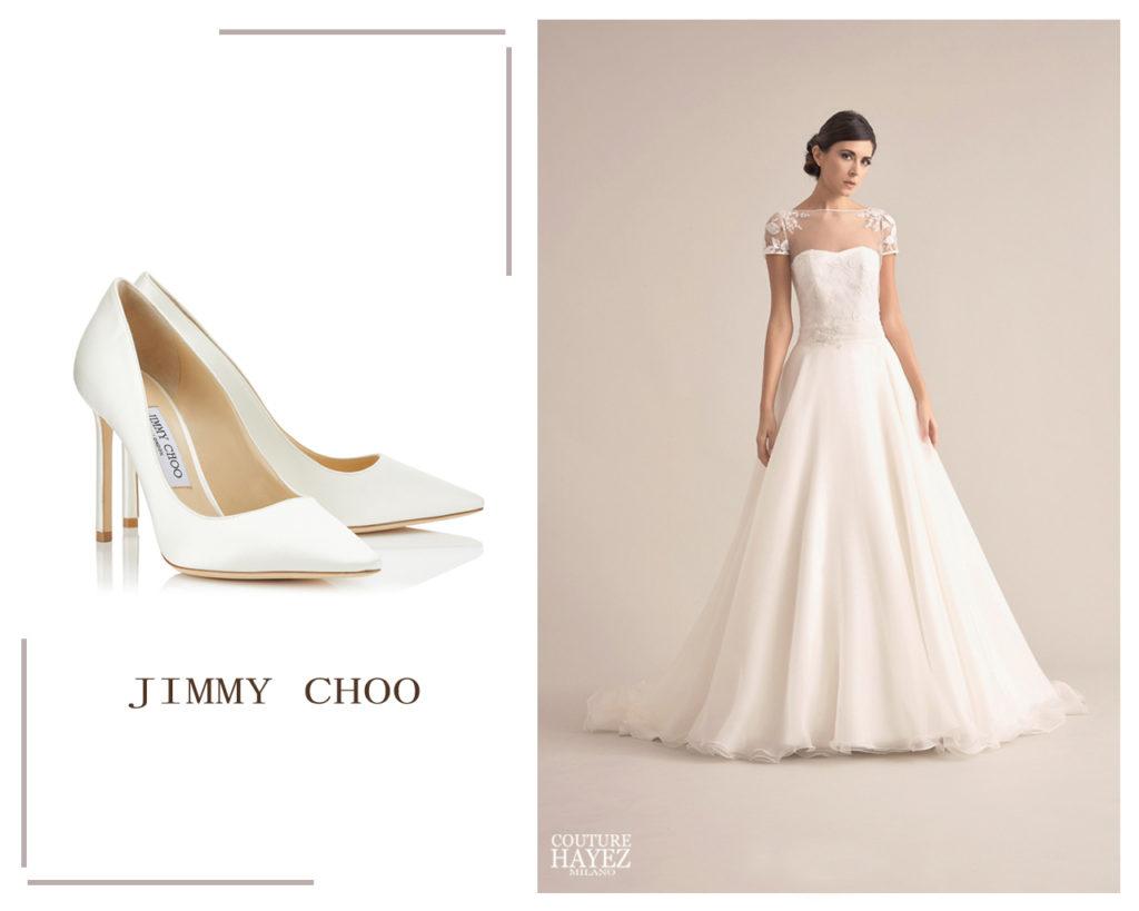pumps romy 100 jimmy choo sposa, abito sposa principessa pizzo e organza sabrina couture hayez