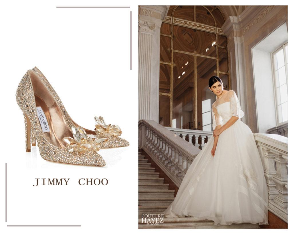 pumps cinderella oro jimmy choo, abito sposa principessa organza e oro tracy couture hayez alta società