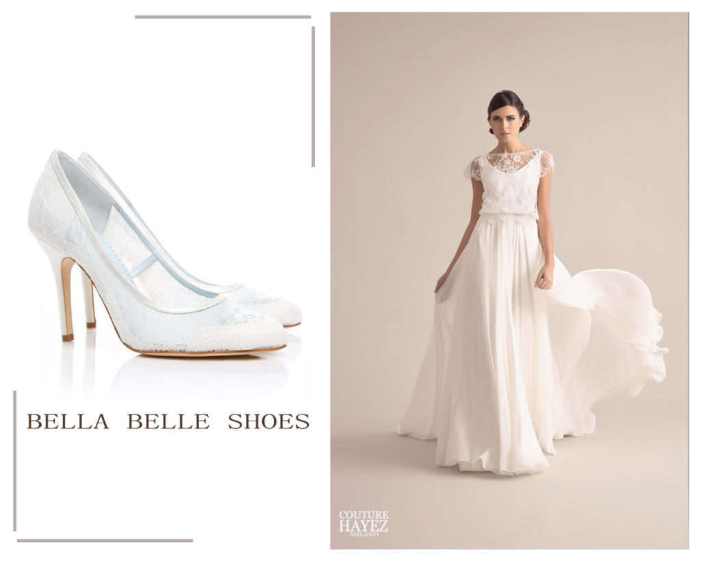 calzature sposa chiuse in pizzo millie bella belle shoes, abito sposa in pizzo caterina couture hayez