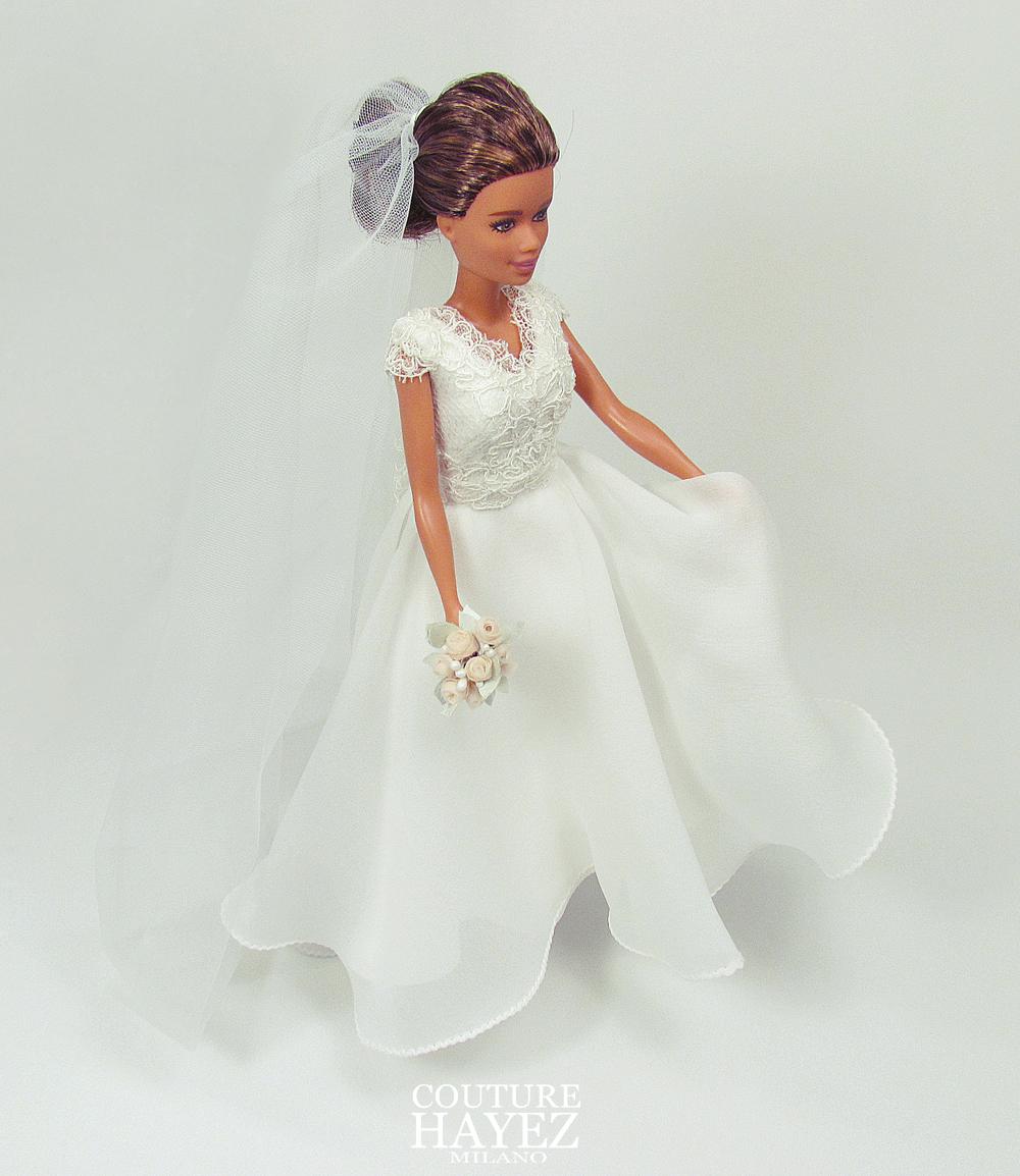 Anche per Barbie un Abito da Sposa Couture, un abito da sposa in georgette di seta, bouquet e velo per barbie ,
