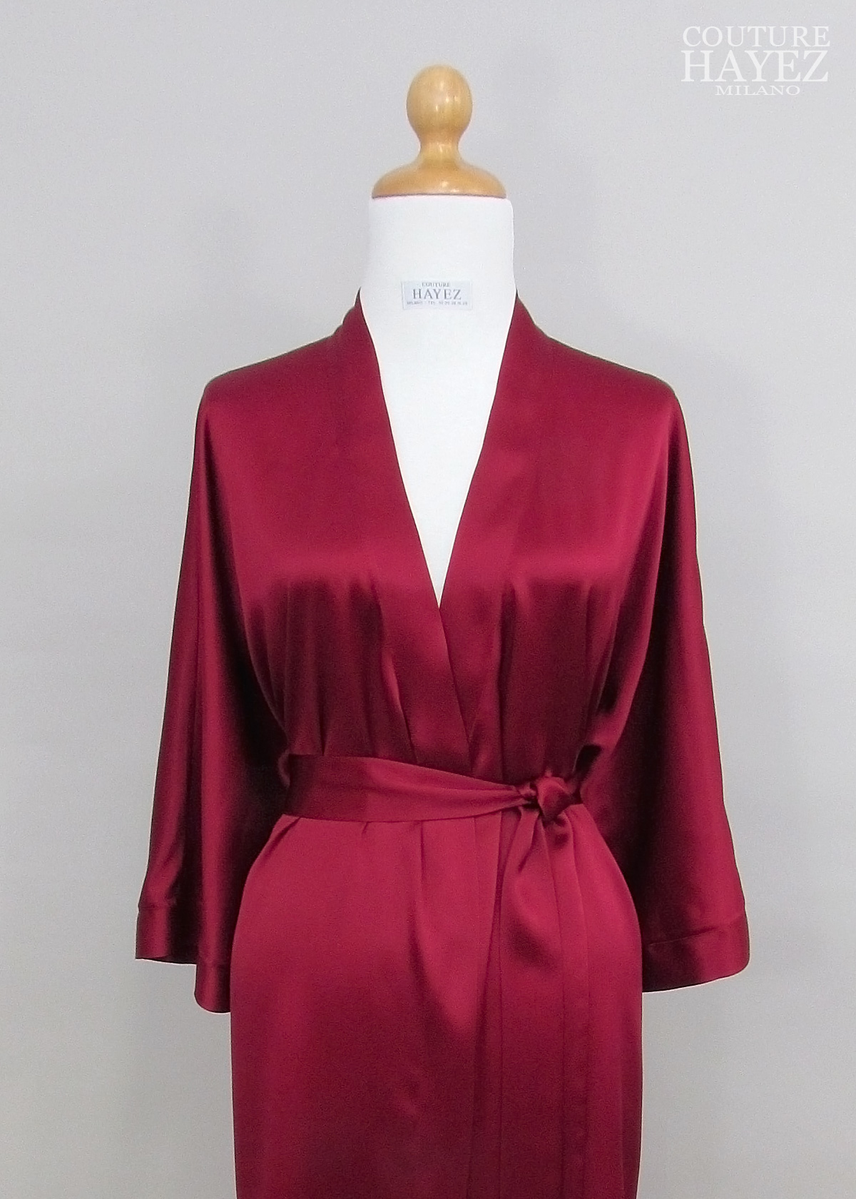 vestaglia in seta rosso rubino, vestaglia in saten color ciliegia, kimono sposa in seta on line