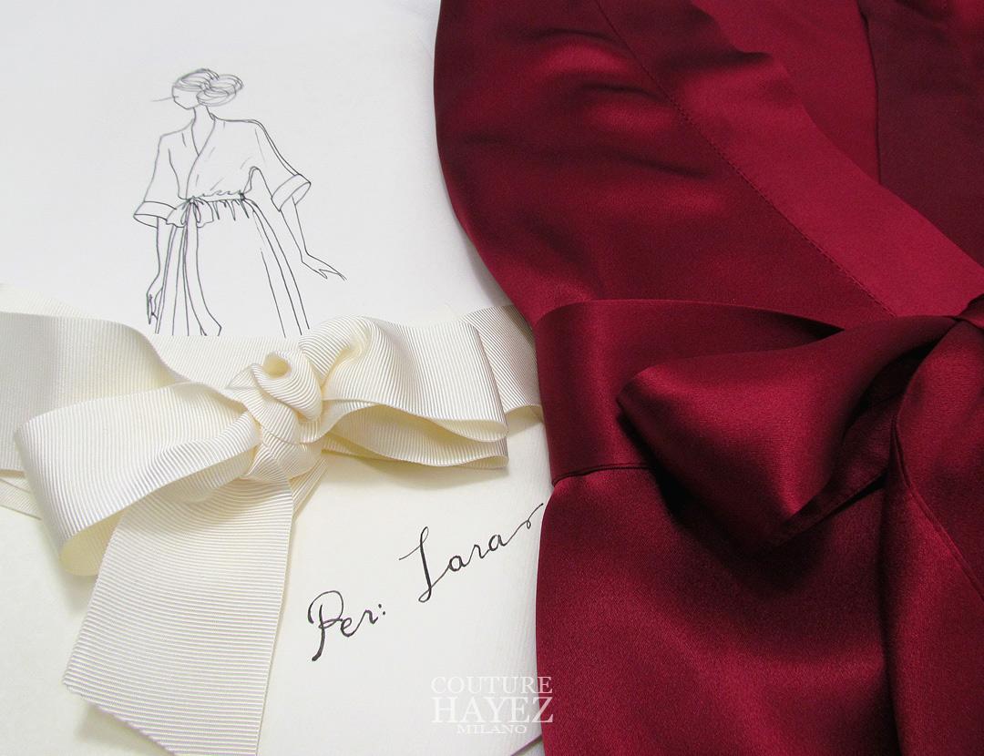 Kimono sposa in seta color ciliegia, kimono color rosso rubino, Confezione regalo kimono sposa ,