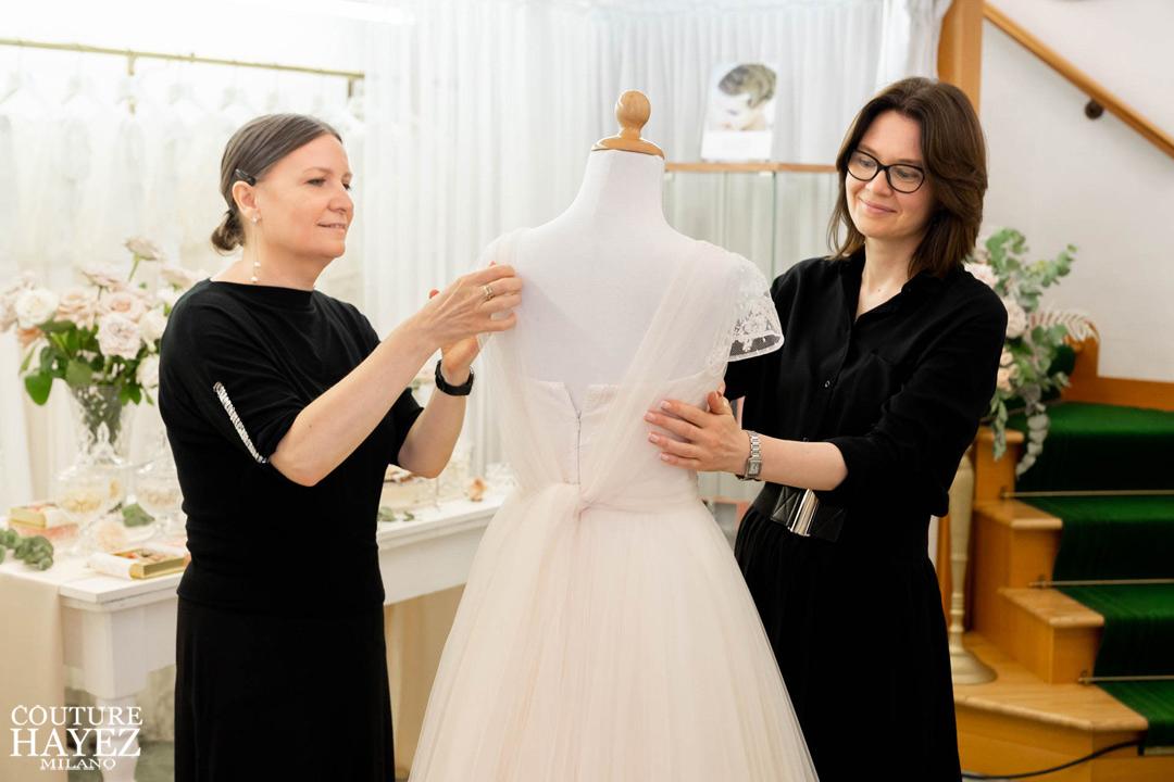 Christine e Loriana designers Couture Hayez Milano, atelier sposa con sartoria a milano