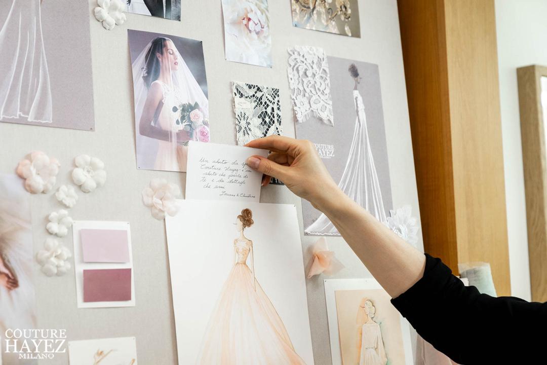 dettagli palette colori e fiori in seta e pizzi moodboard, wedding mood board, sartoria sposa a milano