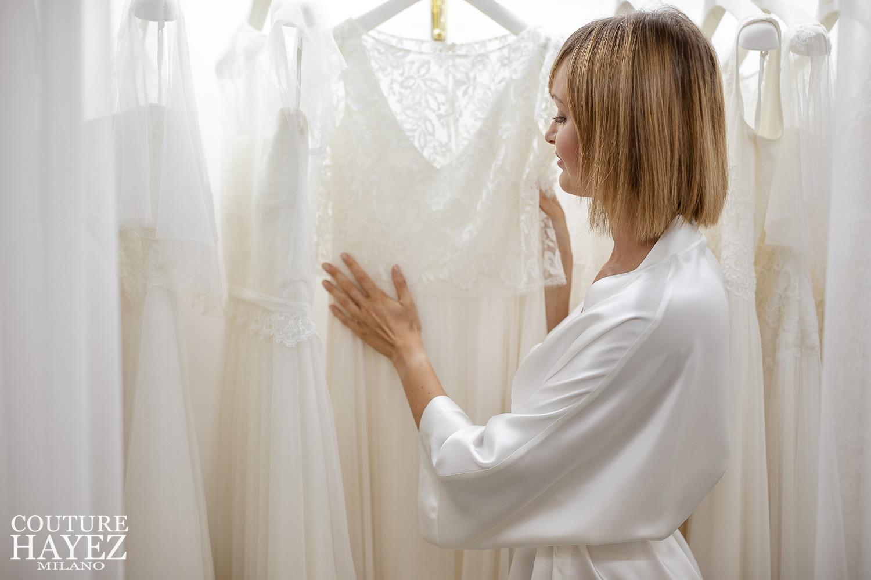 Vestaglietta da sposa bianca online couture hayez