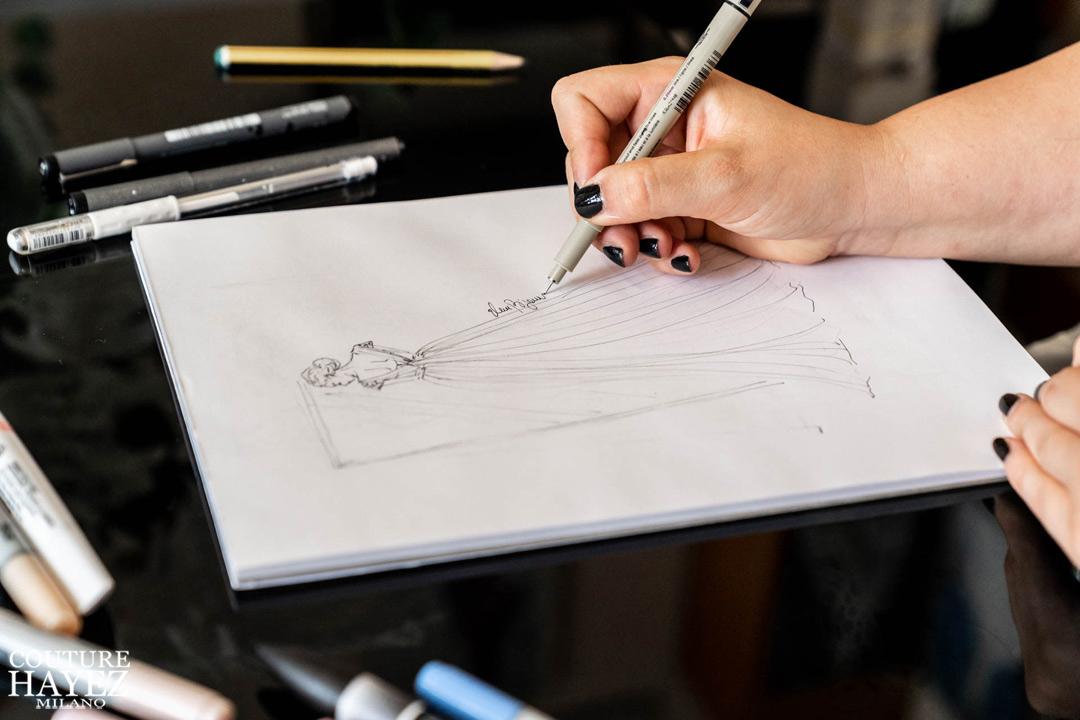 schizzo abito da sposa illustratrice eleonora casa bignami