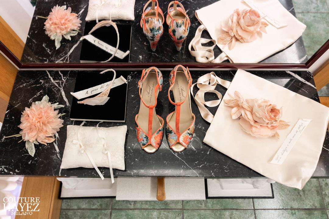 kit per la sposa con fiori in seta Luca Morando
