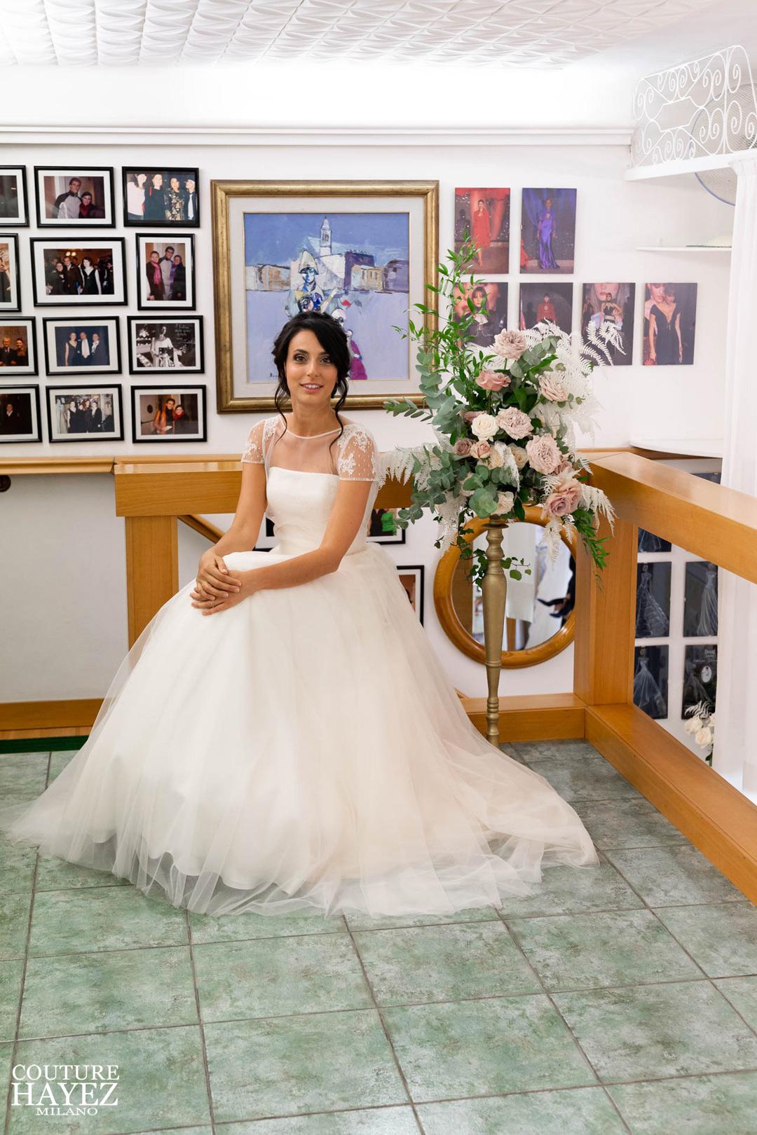 vestito da sposa rosa cipria elegante e raffinato principessa, abiti da sposa su misura a milano, sposa 2020