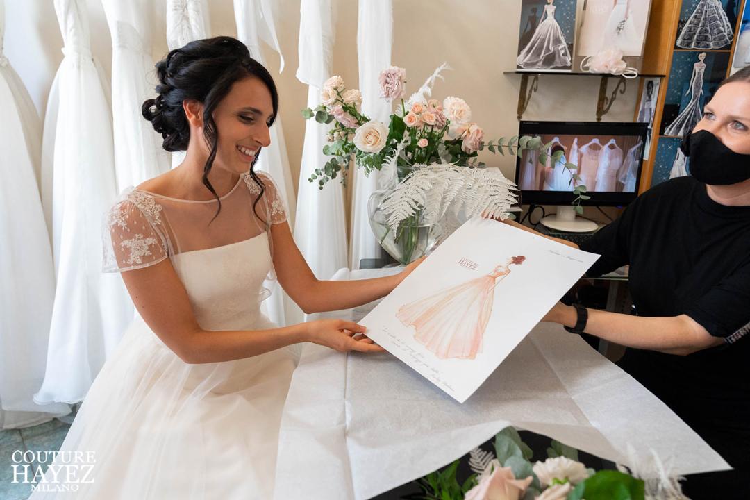 figurino dell'abito da sposa couture hayez