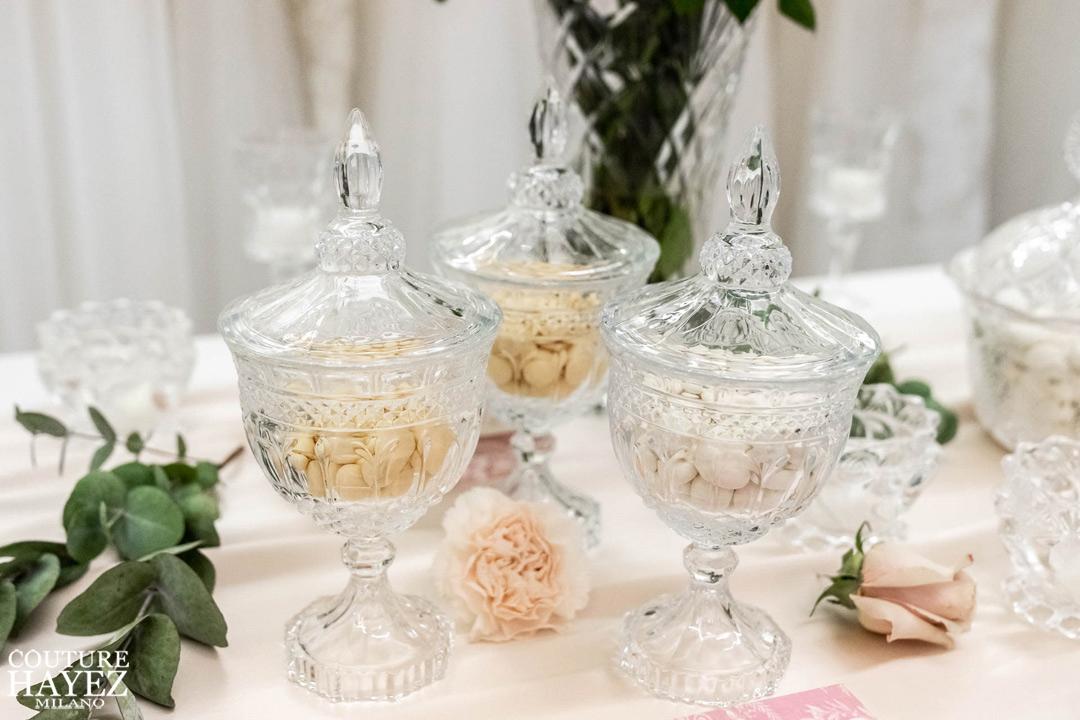 coppe in cristallo con confetti matrimonio ernesto brusa varese
