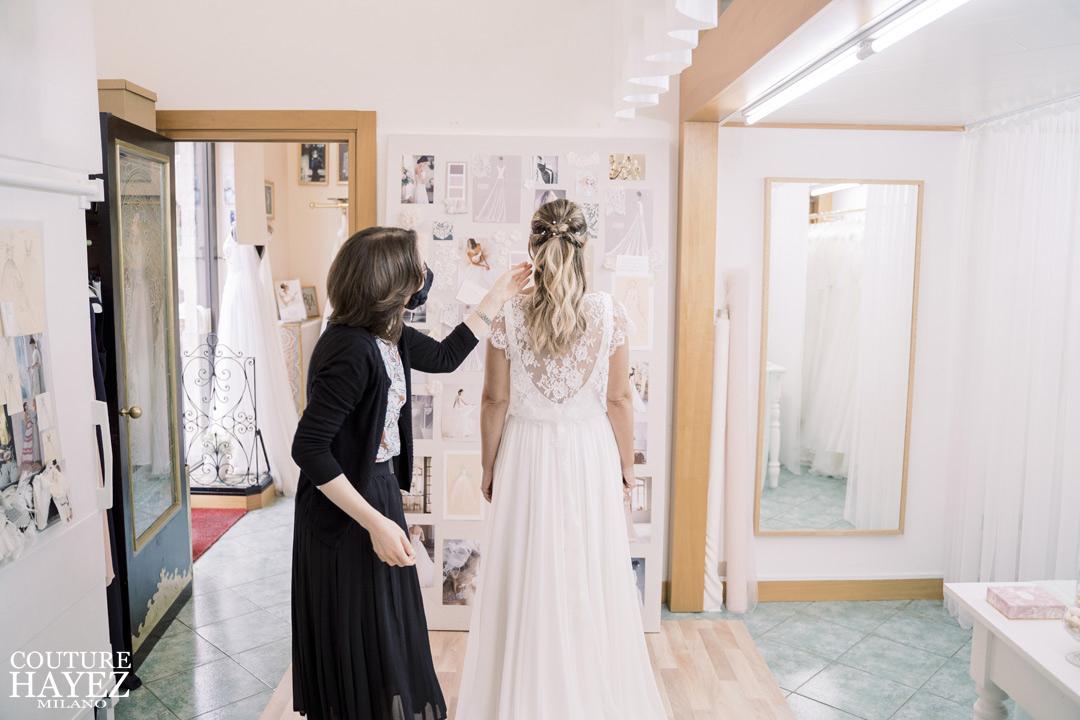 couture hayez atelier da sposa milano, l'esperienza di Francesca e la sua ultima prova abito in Atelier, atelier sposa con designer