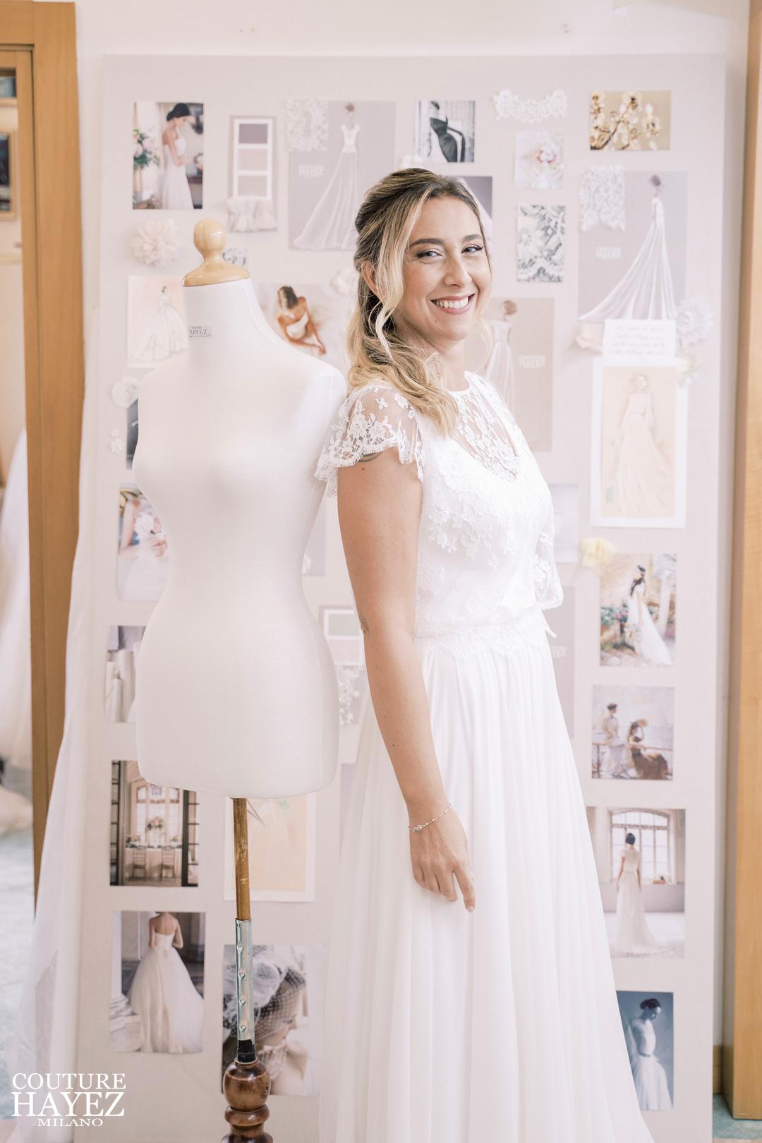 esperienza della sposa in atelier couture hayez , couture hayez milano, real bride