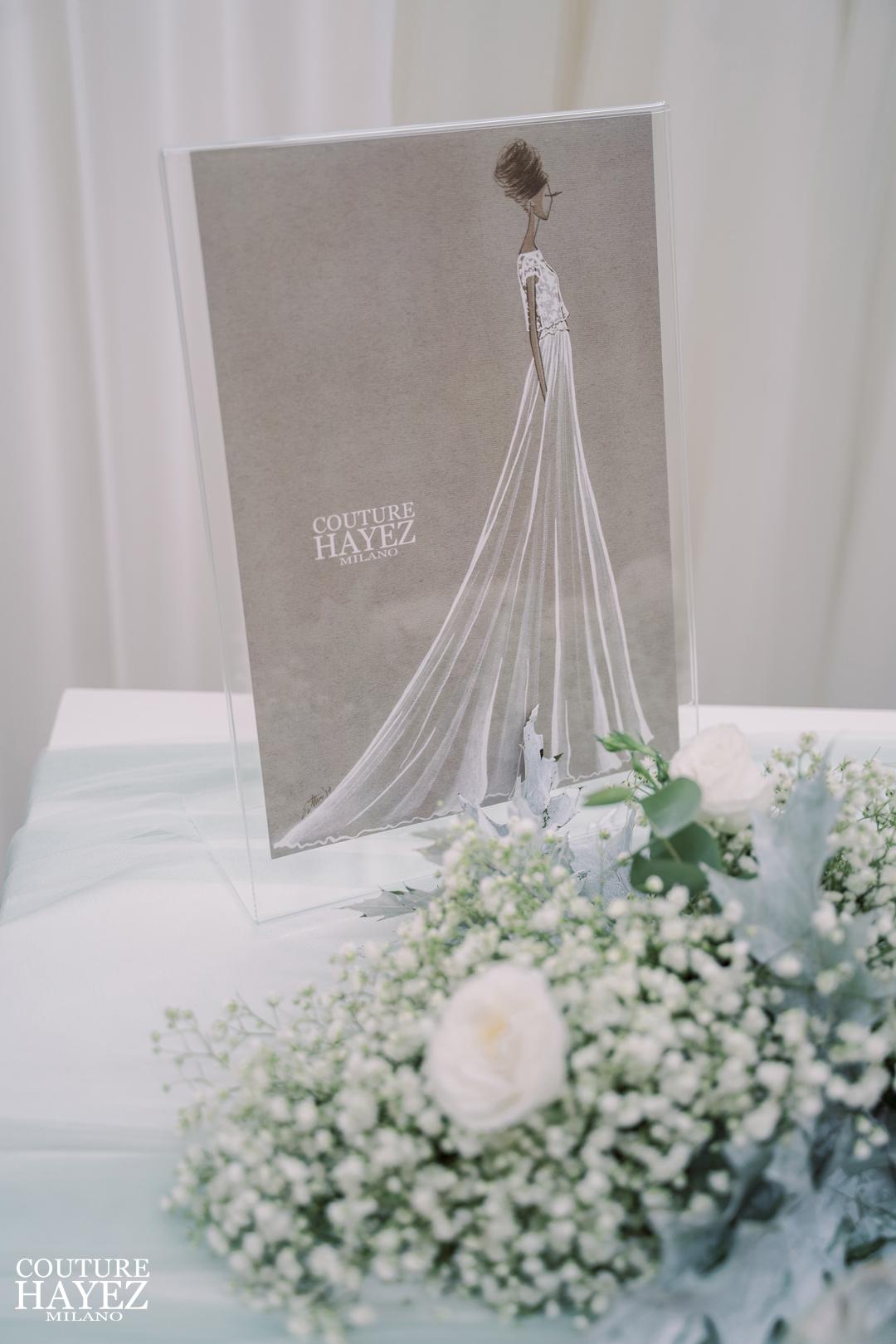 figurino abito da sposa couture hayez unico, abiti da sposa leggeri e raffinati