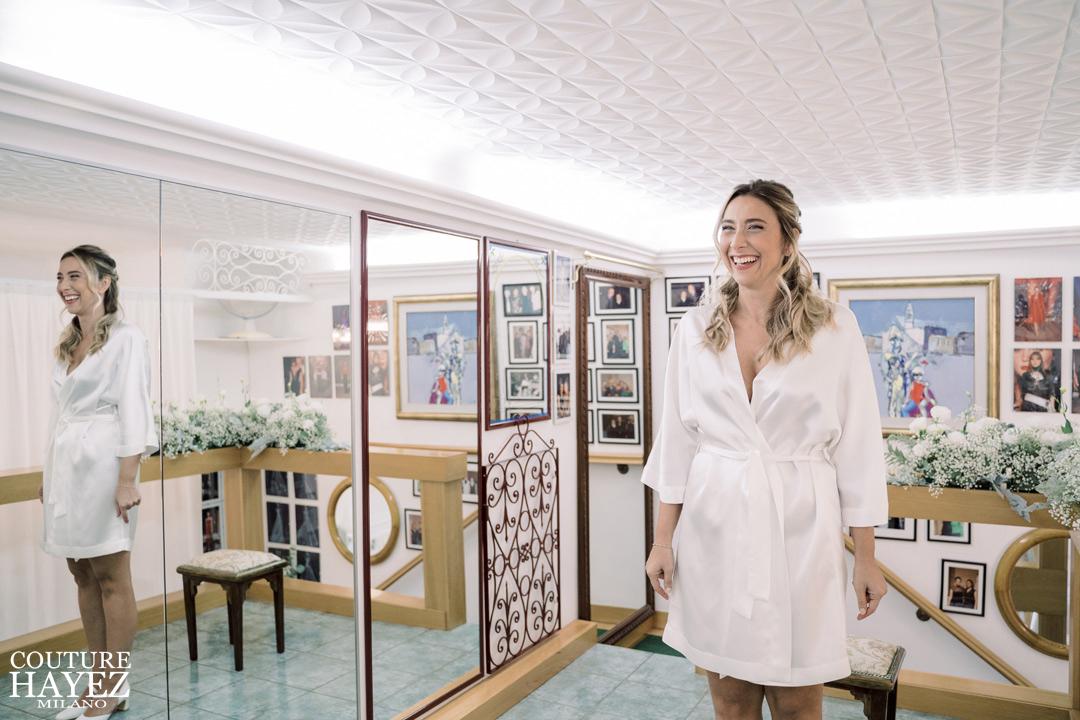 vestaglia per la sposa kimono bianco semplice